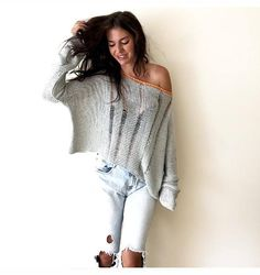 Dropped Stitch Sweater, Open Waves Sweater, Loose Knit Sweater, Openwork Sweater, Handknitted Sweater, Off Shoulder Sweater, Oversized