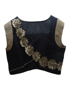 Black and Gold Flower Embroidery Silk Saree Blouse Designs 22 Graceful Pics of simple thread work blouse & Saree designs Black Blouse Designs, Saree Blouse Neck Designs, Choli Designs, Blouse Patterns, Sewing Patterns, Simple Blouse Designs, Sari Design, Stylish Blouse Design, Bollywood