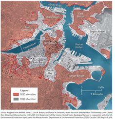 Boston Shoreline ~ Comparison between 1630 and 1999