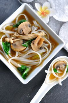 Miso Mushroom Soup with Rice Noodles and Greens. Naturally vegan and gluten-free.|www.flavourandsavour.com