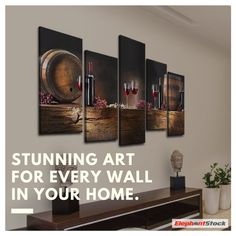 Wine Barrels Multi Panel Canvas Wall Art by ElephantStock is printed using High-Quality materials for an elegant finish. We are the specialists in Modern Décor canvas prints and we offer 30 day Money Back Guarantee Canvas Wall Art, Canvas Prints, Interior Styling, Interior Design, Lovers Art, Your Space, Modern Decor, Floating Shelves, Wine Barrels