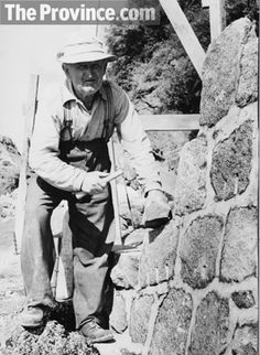 """James """"Jimmy"""" Cunningham, stonemason was the craftsman behind the Stanley Park seawall. He started the job in the 1940s and it took him about a quarter-century to complete. In this 1962 photo, shot by The Province's Gordon Sedawie, he is seen working his way south from Siwash Rock."""