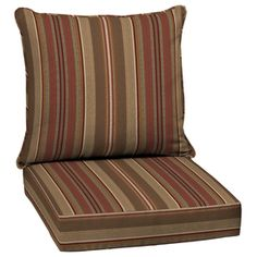 allen + roth 46.5-in L x 25-in W Stripe Chili Deep Seat Patio Chair Cushion - lowes, $50
