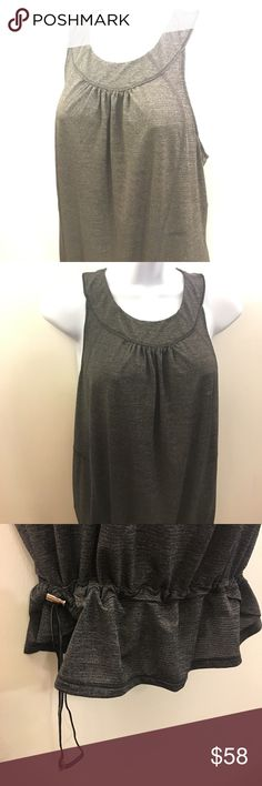 LULULEMON High Neck Modesty Baby Doll Tank Sz8 Ultra thin, anti-stink fabric. High scoop neck. Heathered gray with black mesh vertical stripe down the back center. Draw string bottom, adjust to fit as desired. Imported, Canada. lululemon athletica Tops Tank Tops