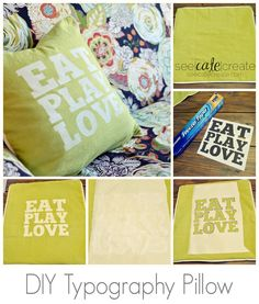 How to create a custom typography throw pillow with freezer paper and fabric paint. DIY Typography Pillow|Freezer Paper Stenciling