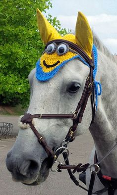 Minion Horse Fly Veil Ear Net Bonnet by CreativeSeaHorse on Etsy