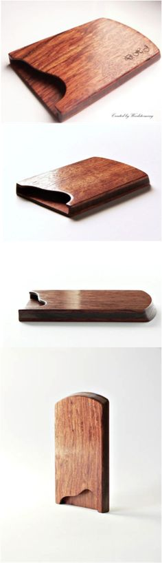 "Wooden Business Card Holder in Walnut or Mahogany by Woodstorming | Hatch.co     ""This business card holder has simple, elegant and modern design. It is made walnut and reclaimed mahogany wood (it was a part of flax hackling machine in his earlier life) which was sanded and polished especially smooth to have that shiny look. Impressive wood pattern makes it luxurious and solid accessory.  We created this item to carry your business cards elegant and safe."""