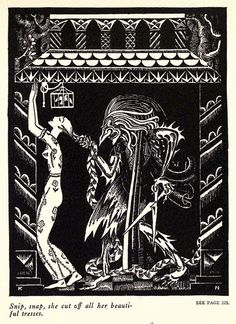 Snip, snap, she cut off all her beautiful tresses. - illustrated by Kay Neilsen