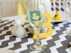 Personalized Wine Glasses for a Ducky Baby Shower