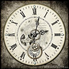 Steampunk clock image | Steampunk clockface with gems , gears , cogs etc, on a grunge cement ...