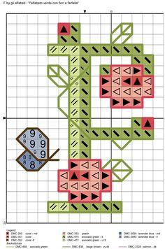 alfabeto verde con fiori e farfalla F