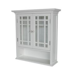 Elegant Home Fashions Neal Collection Shelved Wall Cabinet with Cubby, White by Elegant Home Fashions. $59.54. Distinguished wall cabinet provides open cubby and enclosed shelf. Crown molding and recessed side panels; some assembly required. Sturdy engineered-wood construction; classic, pure-white finish. Glass-paneled cupboard doors with framing accents and crystal knobs. Measures 7 by 22 by 24 inches. Elegant Home Fashions Neal Collection Shelved Wall Cabinet with...