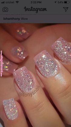Acrylic Nail Designs Glitter Idea pin ramani on nails page in 2020 pink glitter nails Acrylic Nail Designs Glitter. Here is Acrylic Nail Designs Glitter Idea for you. Pink Glitter Nails, Fancy Nails, Sparkly Acrylic Nails, Christmas Nails Glitter, Glitter Wedding Nails, Sparkle Gel Nails, Nail Pink, Glitter Nail Polish, Sparkles Glitter