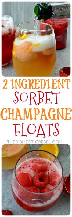 These 2-Ingredient Sorbet Champagne Floats are so easy, impressive, and such a crowd-pleaser! Mix and match your favorite sparkling wine or champagne with fruity sorbet flavors and fresh fruit for a truly custom party treat!