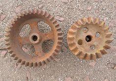 Antique Vintage Lot Of 2 Cast Iron Industrial Gears Machine Age Steampunk Art!