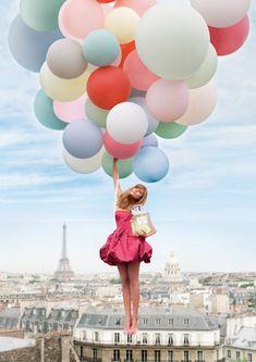 Miss Dior Chérie by model Maryna Linchuk @ Paris | Pastel Balloons ~ symbols of escapism, adventure & fantasy