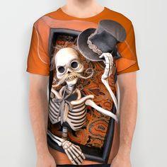 Rucus Studio Gentleman Skeleton All Over Print Shirt