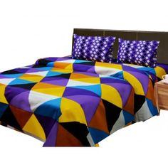 Buy Cotton bedsheet with blue cross squares@ 599