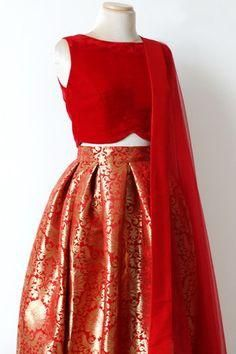 New Red Brocade Indian Lehenga Choli Designs ,Indian Dresses Indian Lehenga, Brocade Lehenga, Red Lehenga, Lehenga Choli Designs, Lehnga Dress, Brocade Dresses, Dress Skirt, Dress Shoes, Indian Wedding Outfits