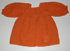 Crocheted Baby Dress, Jacket  & Hat In Orange - Ready to Ship 13057-G