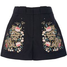 Vilshenko Olga Embroidered Shorts (£555) ❤ liked on Polyvore featuring shorts, bottoms, pants, cotton shorts and embroidered shorts