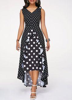 High Low Dresses Polka Dot Print Black High Low Dress - Evening Dresses and Fashion Sexy Dresses, Beautiful Dresses, Dress Outfits, Evening Dresses, Casual Dresses, Fashion Outfits, Awesome Dresses, Women's Fashion, Dress Clothes