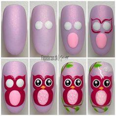 Owl Nail Art, Owl Nails, Funky Nail Art, Animal Nail Art, Funky Nails, Nail Art Diy, Easy Nail Art, Minion Nails, Disney Nail Designs