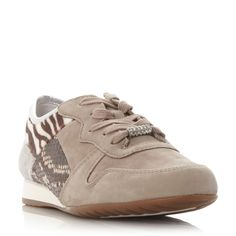 Gabor Haddaway multi fabric lace up shoes, Beige