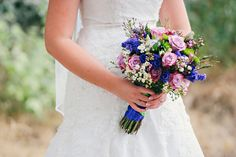 Purple and green bridal bouquet.
