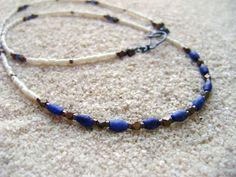 LAPIS NECKLACE // stone white blue nautical beach by HickeyLane