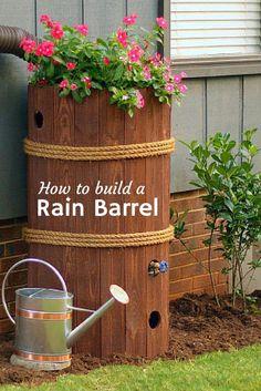 Schicke Regentonne | ganz einfach zum Selbermachen @hgtvgardens --> http://www.hgtvgardens.com/photos/how-to-make-a-rain-barrel?soc=pinterest