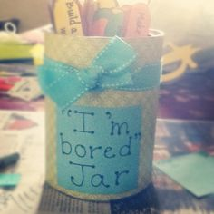 """Such a fun idea for nannying! """"I'm bored"""" jar. Nanny Activities, Toddler Activities, Projects For Kids, Crafts For Kids, Diy Crafts, The Nanny Diaries, Bored Jar, Babysitting Fun, Future Mom"""