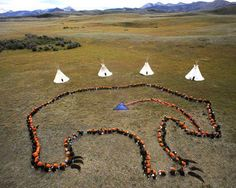 The Sky Grizzly. 400 Blackfoot from age 3 to 80 gather in the shape of a grizzly bear at Badger Two Medicine area, Blackfoot Reservation, to declare the sacredness of their land & send a message to the government that they do not want the land to be harmed