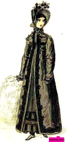 1818 December. Black Walking Mourning Dress, or Pelisse, English. Large white muff, black bonnet with flowers. Fashion Plate via British Lady's Magazine. (PD-180) suzilove.com