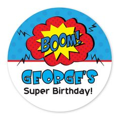 Super Boy Party Circle Stickers ( set of 35) - Custom Printed