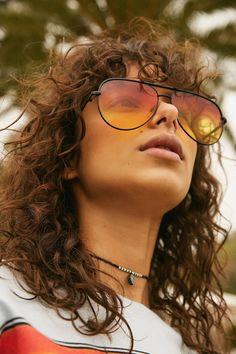 Slide View: 1: Quay X Desi Perkins Sahara Aviator Sunglasses