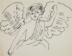 ANDY WARHOL (1928-1987) Angels two ink drawings on paper left: 11 x 8½ in. (27.9 x 21.6 cm.); right: 8½ x 11 in. (21.6 x 27.9 cm.) Drawn circa 1954.