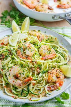 This Cilantro Lime Shrimp Scampi with Zucchini Noodles is a healthy and delicious twist on a favorite dish.