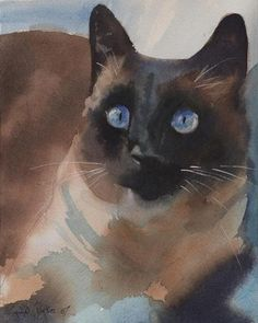 PRINT Siamese Cat Art apple head Painting applehead | eBay