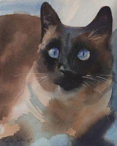Almost as beautiful as my beloved SANG PRINT Siamese Cat Art apple head Painting applehead | eBay