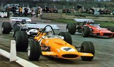 Bruce McLaren, McLaren M14A, at Silverstone, Daily Express / GKN International Trophy Meeting Silverstone, April 1970. Result: 1. Chris Amon, 2. Jackie Stewart, 3. Piers Courage, 4. Bruce McLaren, 5. Reine Wisell, 6. Denny Hulme. McLaren had a great team with Hulme, Wisell, and Bruce himself. Wisell drove the older M7A here at his F1 debut.