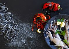 Annabelle Breakey, commercial, editorial, food, still life and product photographer, Still Life of Squid + Pasta