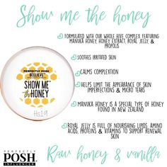 🍯Show Me The Honey Face Mask 🐝 Red, irritated skin needs serious soothing. Not only is it prone to more micro-tears, but it can lead to the appearance of skin imperfections. This face mask is specially formulated with our Whole Hive Complex to soothe your skin and calm your complexion.   CLICK TO SEE MORE!  #posh #honey #facemask #naturallybased #sensitiveskin #newzealand #bees #soothe #irritatedskin #skinimperections #face