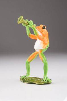 Trumpet Playing Frog Faberge Styled Trinket Box Home Decor Collectors Box