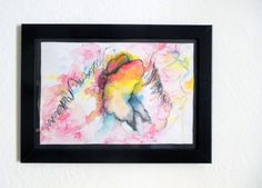 Framed Art  Original Watercolor on paper drawing  Butterfly