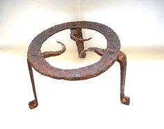 Antique 18c. Very Rare Hand Forged Fireplace Iron Trivet  #NaivePrimitive