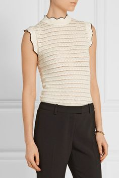 Cream and black stretch pointelle-knit Slips on 70% viscose, 30% polyester Dry clean Made in Italy