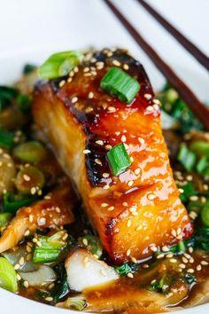Miso Glazed Black Cod on Baby Bok Choy and Shiitake Mushrooms #healthy #recipe