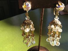 Vintage aurora borialis crystal chandelier clip on by Mamaphias, $58.00