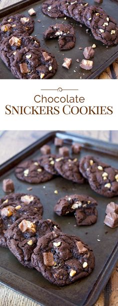 These Chocolate Snickers Cookies are an irresistible, rich, chewychocolate cookie loaded with chocolatechips, peanuts and Snickers Baking Bites.